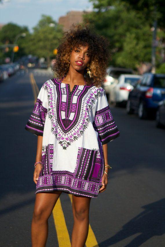 Unisex Dashiki White Purple African Shirt Kings by tribalgroove