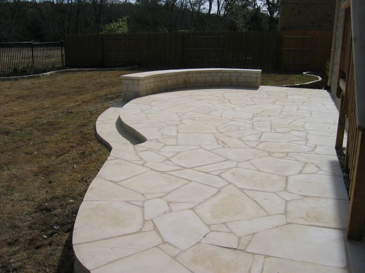 White flagstone patio constructed by ol 39 yeller Flagstone patios colleyville tx
