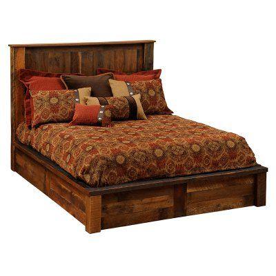 Fireside Lodge Barnwood Traditional Platform Bed, Size: California King - B10010-CK-PF, Durable
