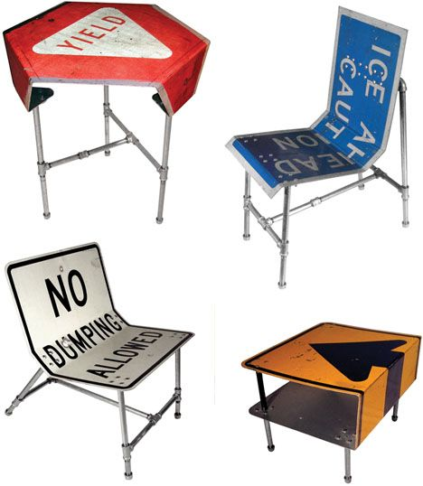 Street Furniture: 10 Stolen Signs Turned into New Designs.: Ideas, Craft, Man Cave, Stolen Signs, Street Signs, Things, Signs Turned, Design, Street Furniture