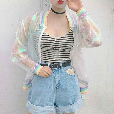 If you're a big fan of those transparent umbrellas in Japanese movies, then you'll love this transparent jacket. Lifted from the latest Harajuku street fashion, it's the perfect addition to your casua