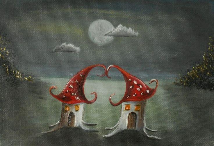 Mushroom Love in the moonlight  Original Oil Painting 7 x5