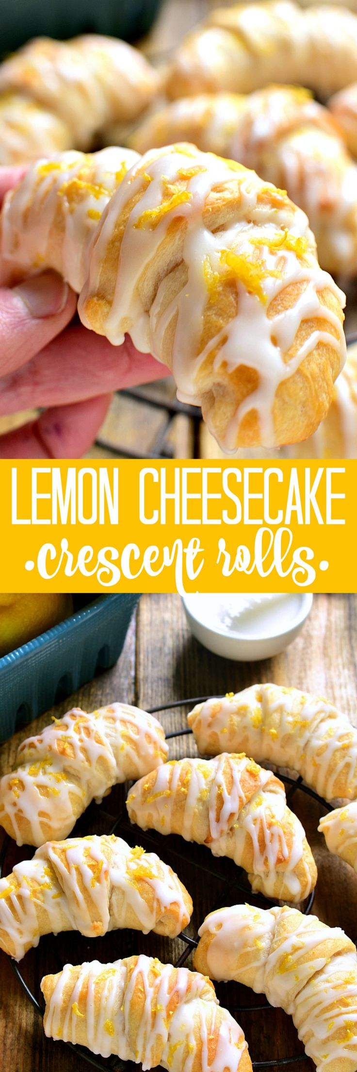 These Lemon Cheesecake Crescent Rolls are bursting with bright lemon flavor! Flaky crescent rolls filled with creamy lemon cheesecake and topped with a citrus glaze...the perfect addition to any brunc (Dessert Recipes Cheesecake)
