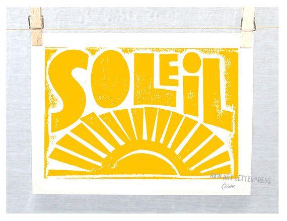 French Baby, Nursery Art Print, Soleil, Typography, Art Print French, Sunshine, Modern Nursery, Wall Art