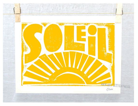 French Sunshine Soleil Typography Art Print SOLEIL    SIZE: 7x5 - Archival - Fine Art Print - Message me for other sizes - Frame not included