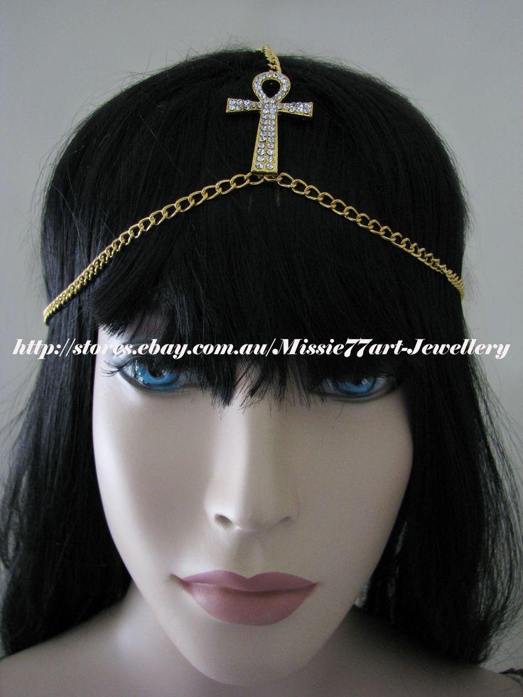 Rhinestone Ankh Egyptian Goddess Headpiece Head Chain in gold plate by Missie77art Jewellery on ebay