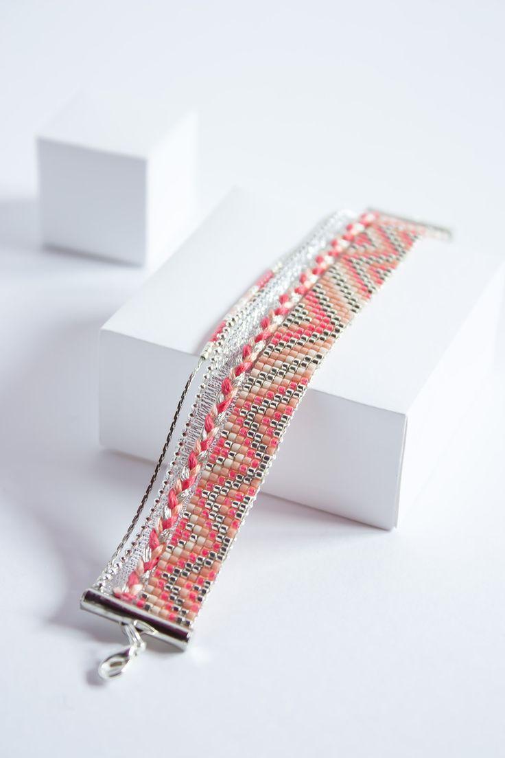 Bracelet tissé perles miyuki / Bracelet d'été / Argent, rose, nude et corail /