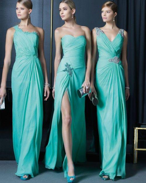 Vestidos de fiesta en color verde con escotes diversos y adornos con incrustaciones de pedrería - Foto Rosa Clará