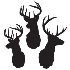 More deer-head silhouettes, choose color and size, set of 3 - $32 (tattoo for my dad)