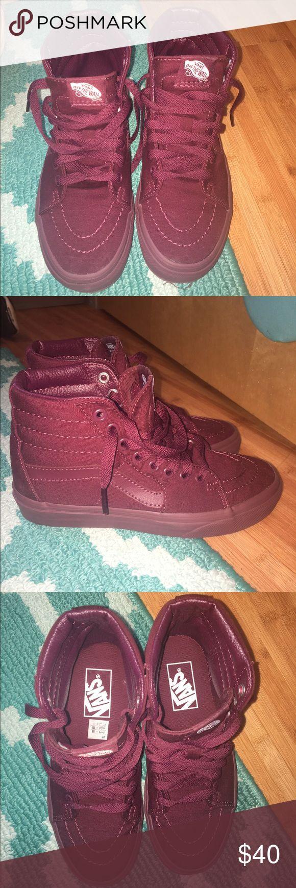 Maroon High Top Vans Maroon canvas high top Vans. Never worn. Vans Shoes Sneakers