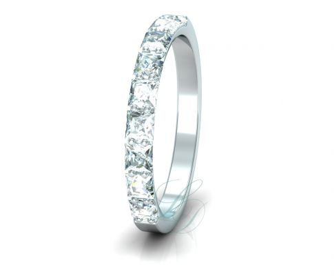PRINCESS ETERNITY - LucyDiamonds.cz Beautiful 14k white gold wedding ring with 9 princess cut diamonds