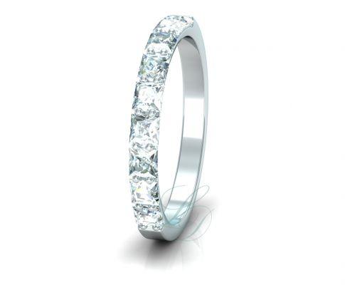 PRINCESS ETERNITY - LucyDiamonds.cz Beautiful 14k white gold wedding ring with 9 princess cut diamonds