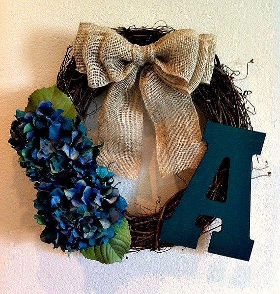 Teal Hydrangea Monogrammed Wreath - initial Wreath - Monogram Wreath - Rustic Wreath - Wreath - Fall Wreath - Door Wreath on Etsy, $42.00 by shelley