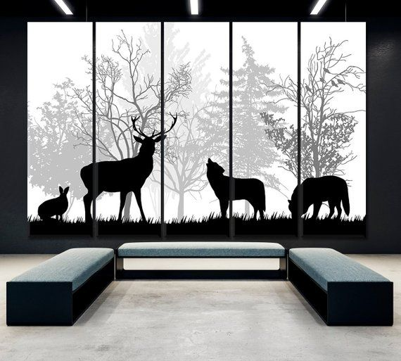 Wild Animals Wall Art Abstract Animals Canvas Print Forest Etsy Animal Wall Art Silhouette Art Animal Canvas