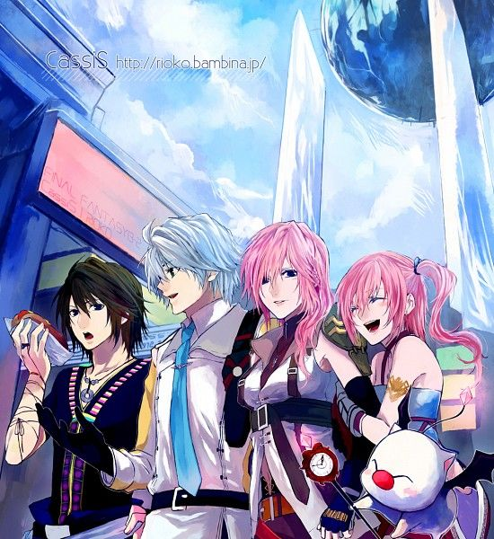 Left to right:  Noel, Hope, Lightning (Claire), Serah, and Mog