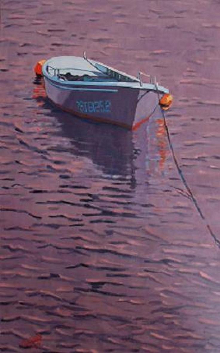 Titulo: amarre, óleo sobre papel, 65 x 39, 600 €