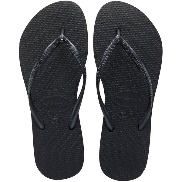 Havaianas Slim Black Flip Flop Sandal (€29) ❤ liked on Polyvore featuring shoes, sandals, havaianas flip flops, havaianas sandals, havaianas, slim flip flops and slim shoes