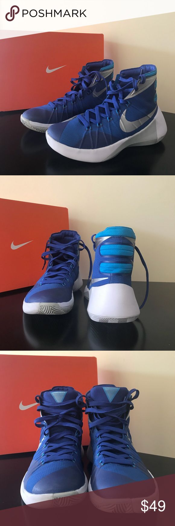 Nike Zoom hightops These are in excellent condition!   Dark blue and whit trim.   Worn mostly on indoor courts. Nike Shoes Athletic Shoes