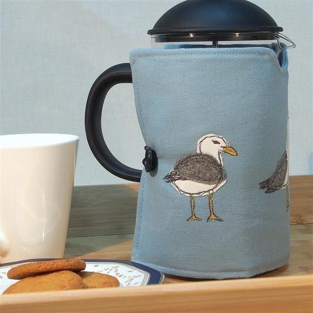 Cafetiere Cosy with Seagulls Freehand Machine Embroidery Design MOTHERS DAY GIFT