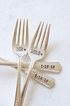 Mr. und Mrs. Gabel-Set für die Braut und von ForSuchATimeDesigns