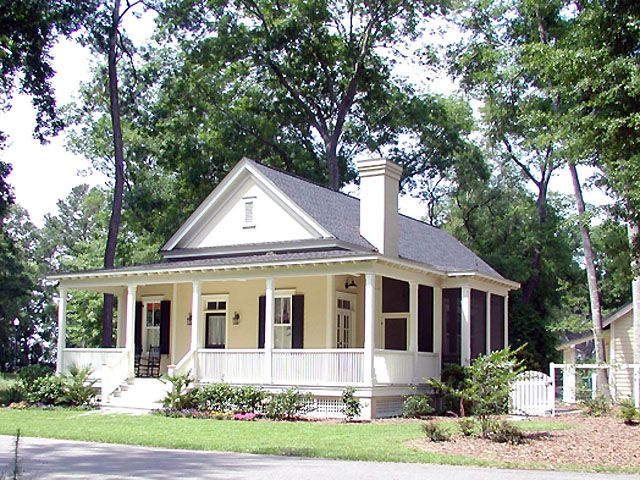 Southern living house plans cottage style pinterest for Tiny house with porch
