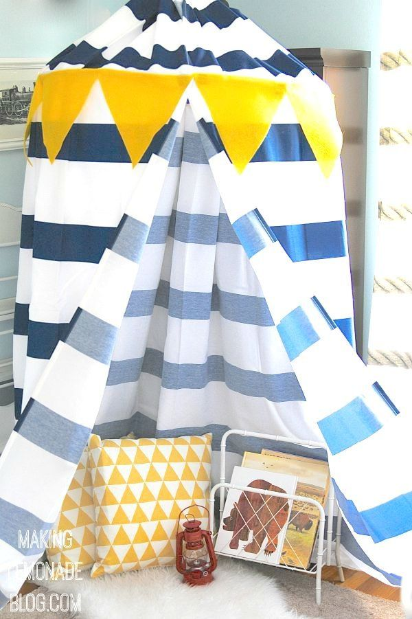 Feeling a bit like MacGuyver, I turned a hula hoop, rope, and two shower curtains into a bright and cheery play canopy tent for my son in under an hour. Starstr…