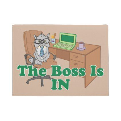 Cat Boss is In Funny Office Cartoon Doormat - office decor custom cyo diy creative
