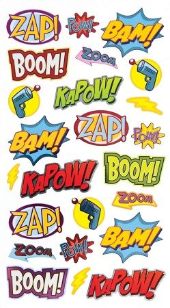 Super Hero Scrapbooking Stickers
