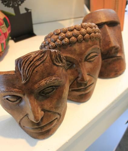 Lovely cement heads at Flying Fish. Good for the garden, good for the house, great as a gift!