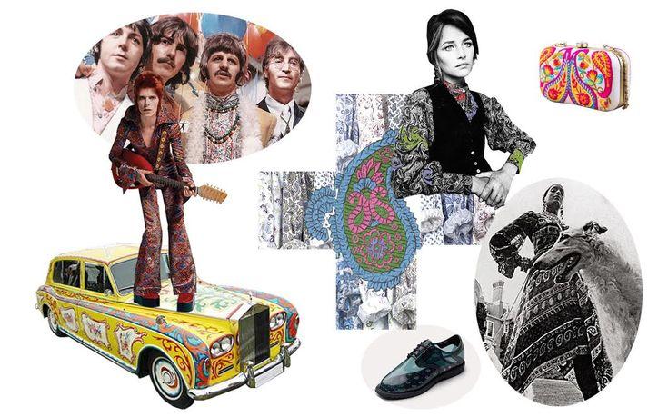 Роллс ройс Джона Леннона, Дэвид Боуи, Beatles, узоры ETRO, Шарлотта Рэмплинг, клатч Strand of Silk, платье, 70-е, кеды Vans.