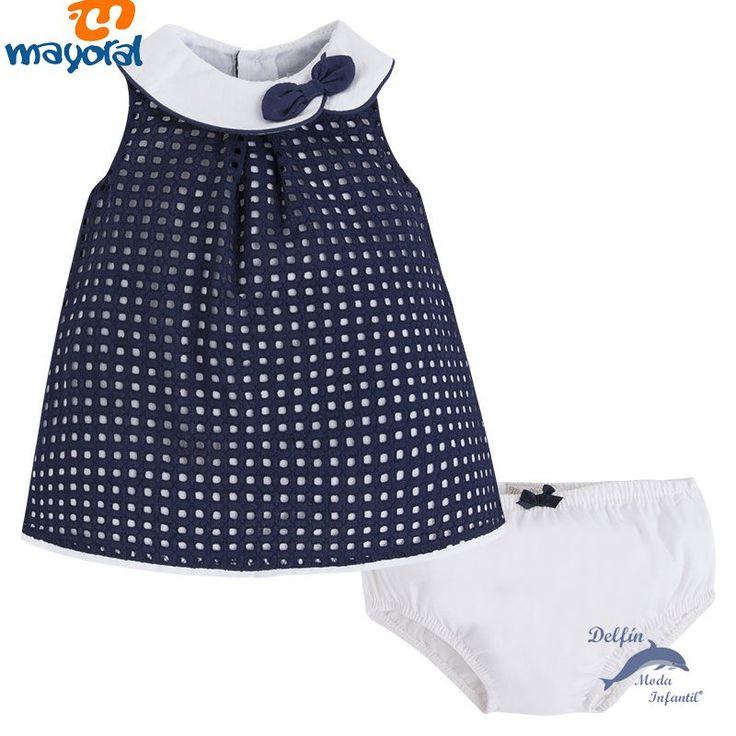 Vestido de bebe MAYORAL NEWBORN tejido perforado con braguita