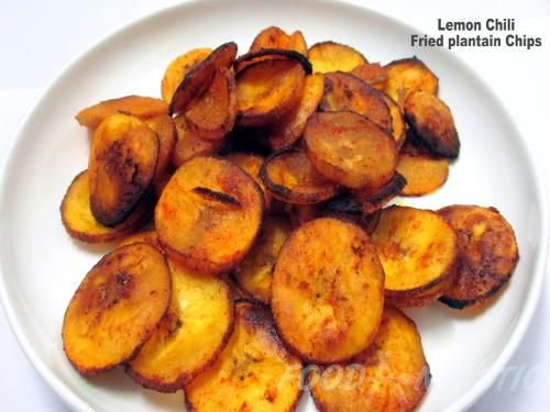 Fried Plantain Chips- Homemade Pan Fried Lemon Chili Flavored Plantain Chips- Tasty And Crunchy http://foodantastic.com/fried_plantain_chips