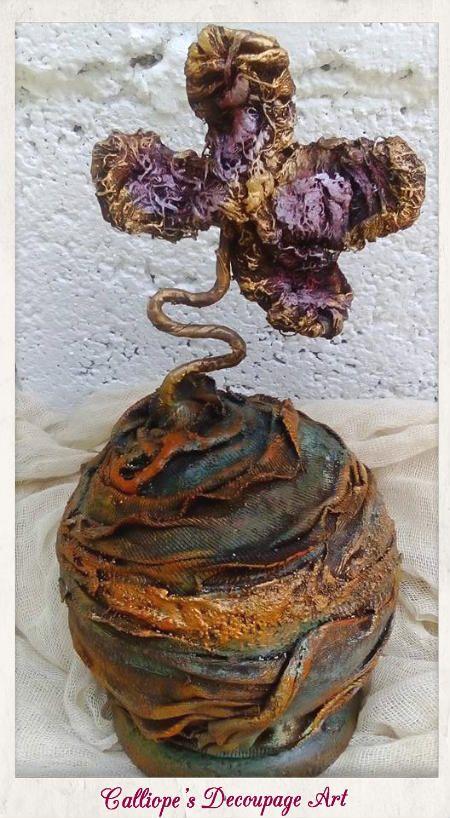 Διακοσμητικό αντικείμενο σε μορφή πεταλούδας,φτιαγμένο με υλικά Powertex | Calliope's Decoupage Art