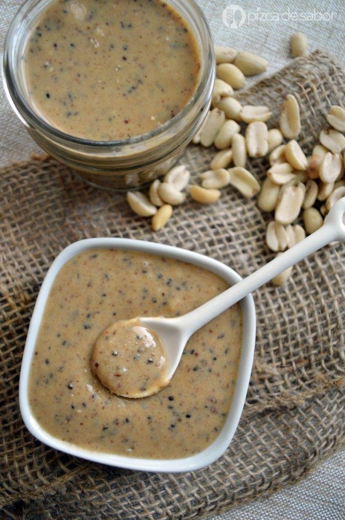 Crema de cacahuate con chía y linaza www.pizcadesabor.com
