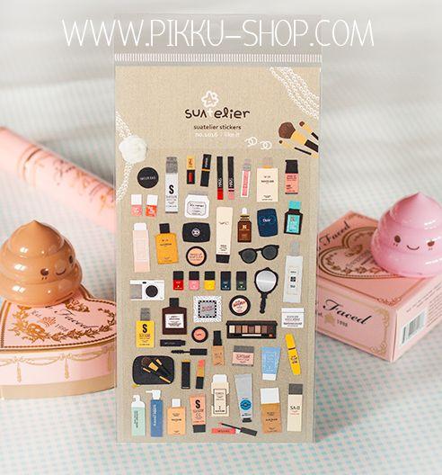 Girly makeup paper stickers from Pikku Shop | www.pikku-shop.com | #cute #kawaii #stationery