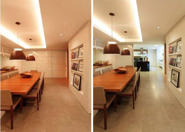 sala de jantar semi integrada com portas de correr