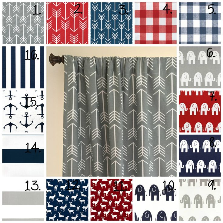 Baby Boy Nursery Curtain Panel Set Elephant Drapes Stripe Curtains Arrow  Curtains Navy Blue Arrow Curtains