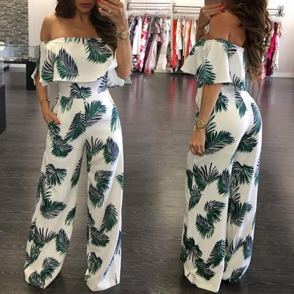 Fashion Print Frilled Off Shoulder Flared Jumpsuit