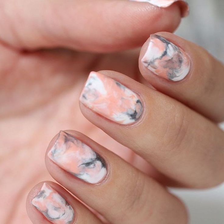Peach and Gray Nails | Marble Nail art |Nail design | Unhas Decoradas | Unhas Marmorizadas com Pêssego e Cinza | Nail Polish | Fancy | Chic | Elegante
