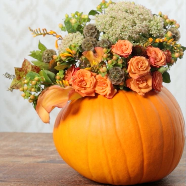 Transform fresh fall flowers and a pumpkin into a beautiful fall display in just a few simple steps.