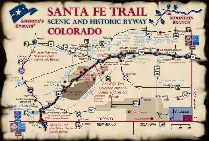 Map of sites on the Santa Fe Trail Scenic and Historic Byway Mountain Branch
