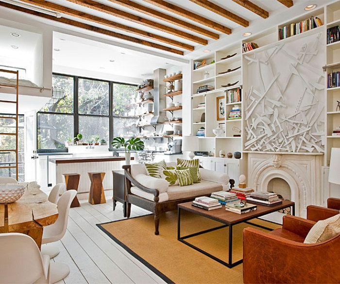 Brooklyn apartamentSpaces, Expo Beams, Fireplaces, Livingroom, Interiors Design, Living Room, Ceilings, Weights Loss, Brooklyn