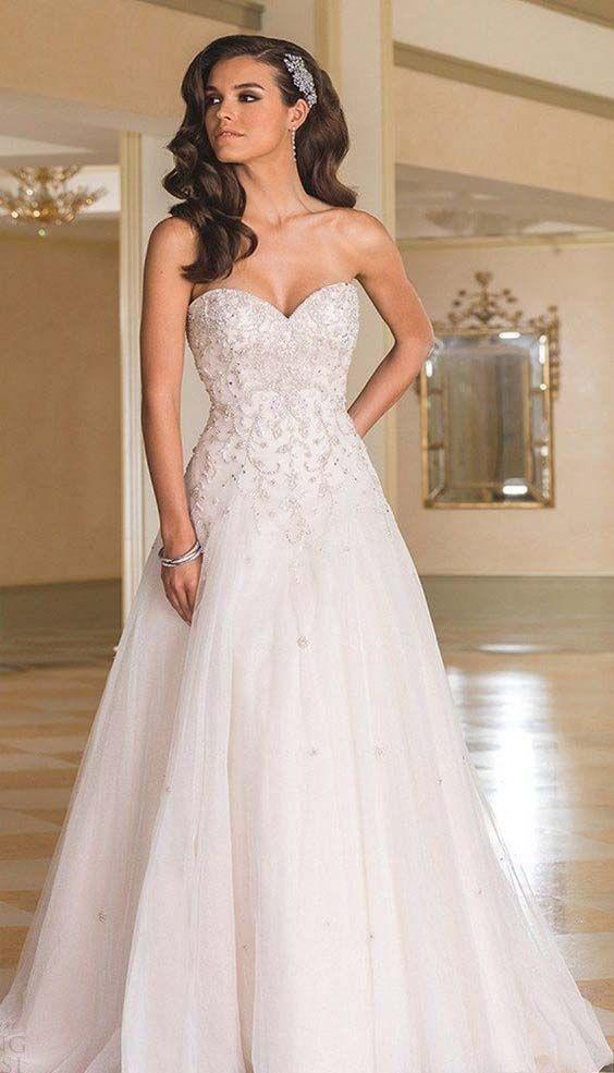 strapless sweetheart aline wedding dress