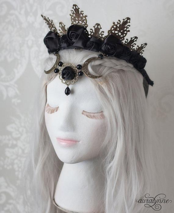 Dark in Love Black Frilly Horns Headpiece Headband Gothic Witchy Alternative