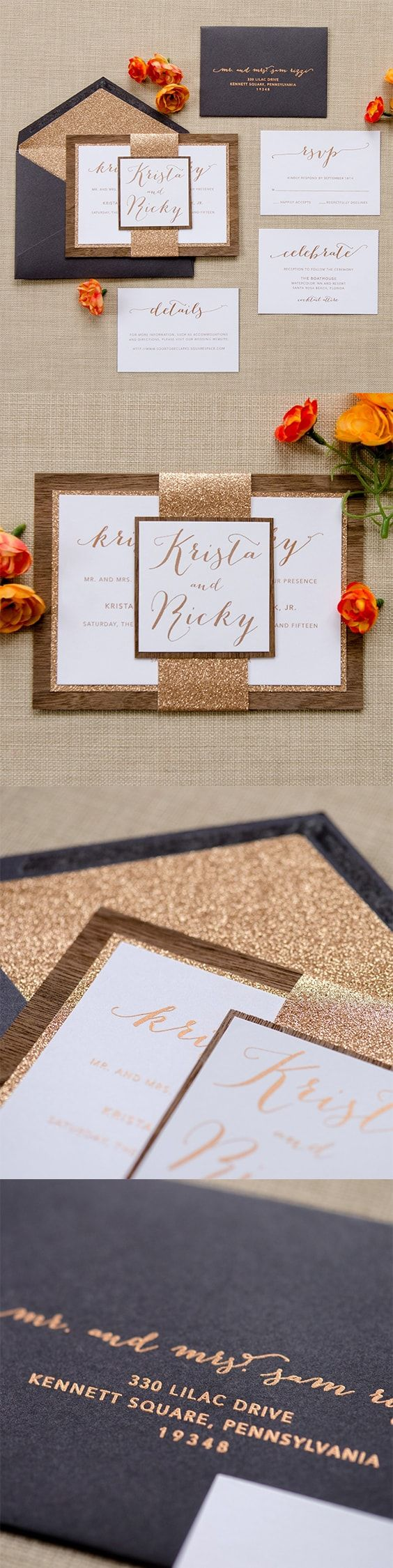 Wood u0026 Glitter Bellyband Wedding Invitation