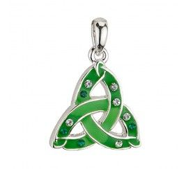 Trinity Knot Pendant with Green Enamel and Crystals, Silver Plated
