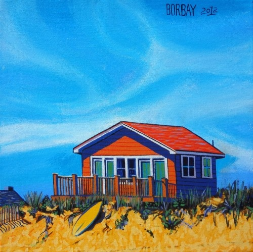 Ditch Plains Beach Bungalow in Montauk Painting by Borbay borbay.com