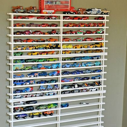 8 Ways to Park Toy Cars - Simple Storage Solutions. Need this for all the hot wheels lying around the house