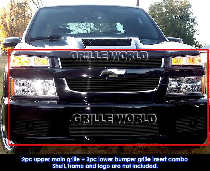 For 2004-2010 Chevy Colorado Xtreme Black Billet Grille Grill Combo Insert