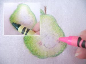Crayon tinting (for embroidery in this tutorial.) Great idea! Color first, then iron to melt, then embroider.